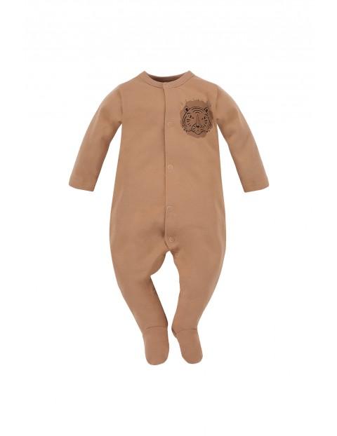 Bawełniany pajac niemowlęcy - brązowy