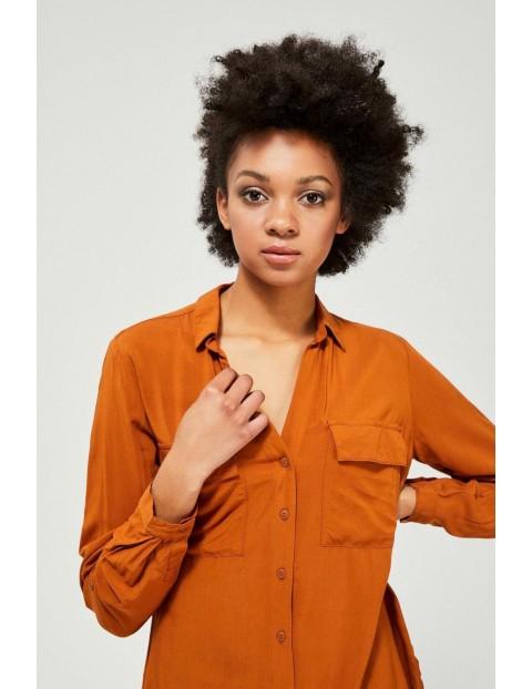 Koszula damska rozpinana w kolorze złotego brązu- długi rękaw