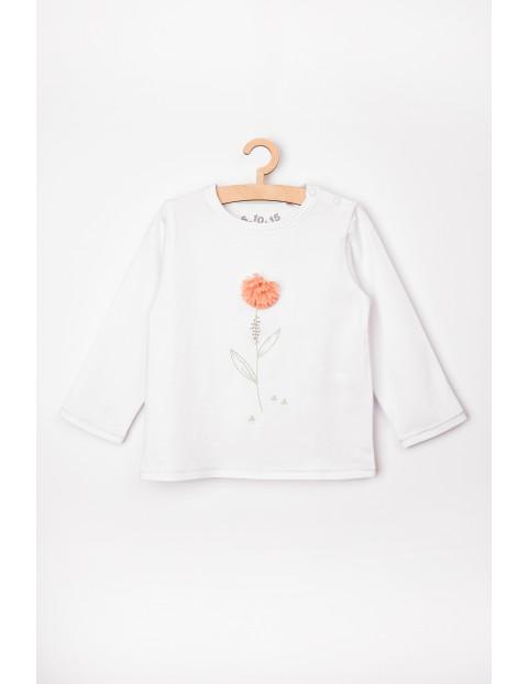 Bluzka niemowlęca biała z kwiatkiem