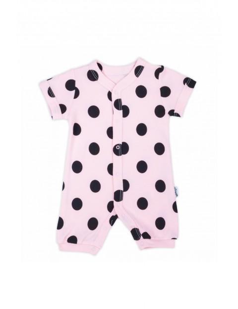 Bawełniany rampers niemowlęcy w grochy- różowy