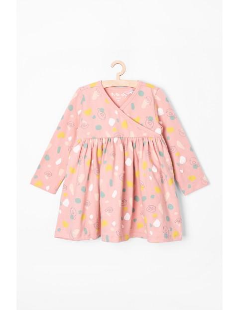 Sukienka dziewczęca dzianinowa we wzorki - różowa