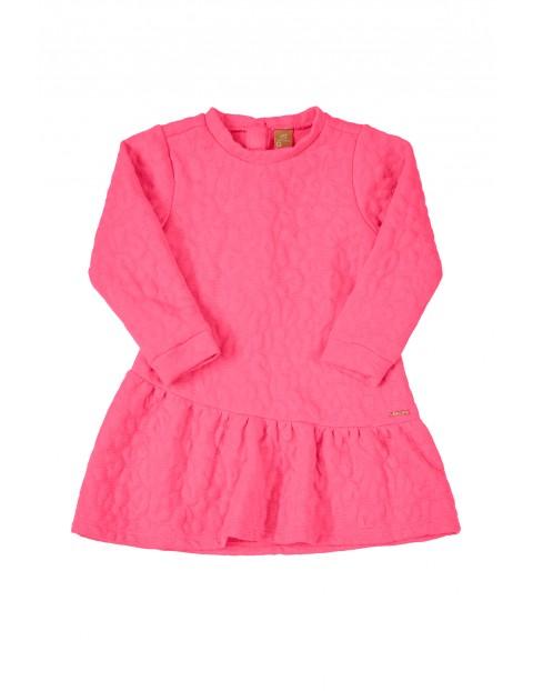 Sukienka dziecięca elegancka różowa z długim rękawem