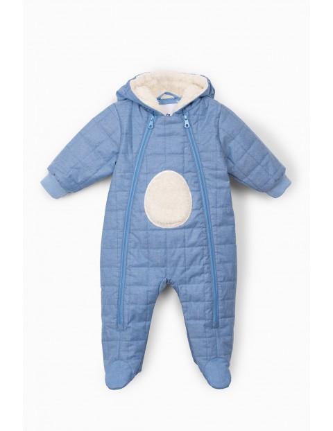 Niebieski kombinezon niemowlęcy z kapturem z misiem