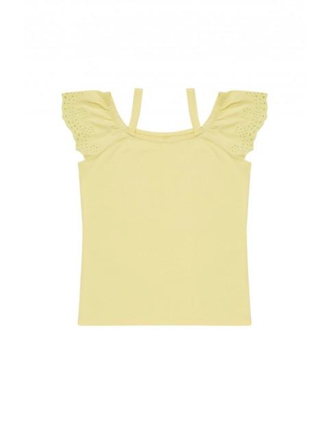 Bawełniana bluzka z dekoltem typu hiszpanka żółta
