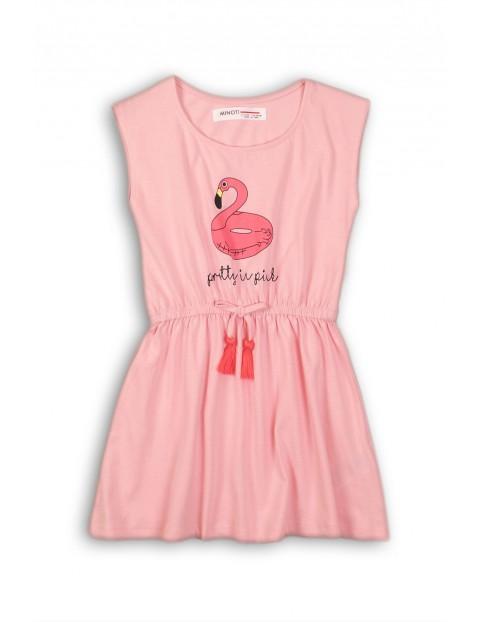Bawełniana sukienka dla niemowlaka- różowa z flamingiem
