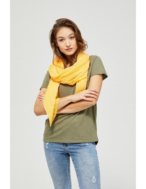Plisowany szal damski żółty
