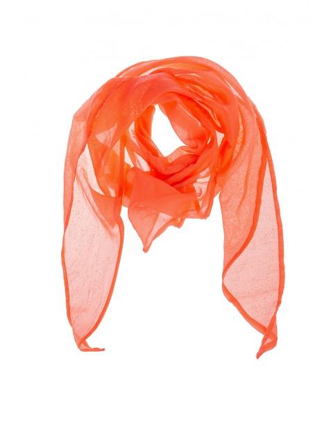 Chustka dziewczęca pomarańczowa w złote kropeczki