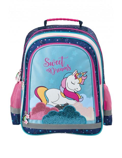 Plecak szkolny niebieski z jednorożcem