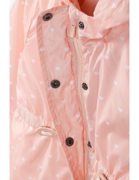 Kurtka przejściowa dziewczęca z kamizelką 3w1- różowa w kropki