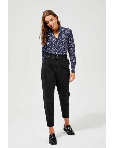 Granatowa elegancka bluzka damska- długi rękaw z roślinnym nadrukiem