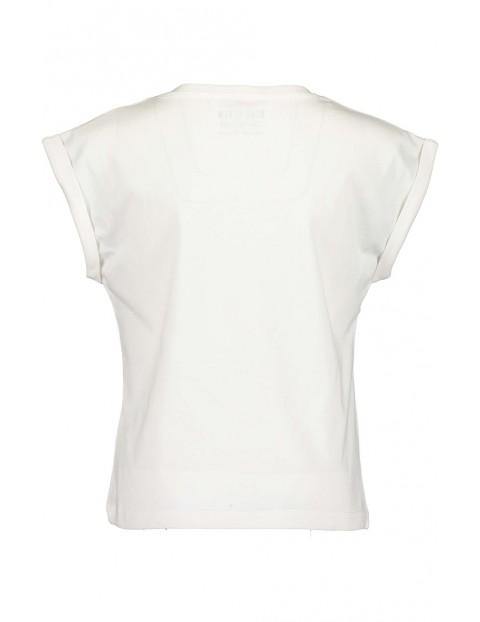 Koszulka dziewczęca biała z kolorowym nadrukiem