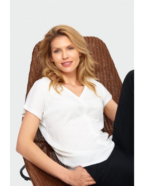 Bluzka damska biała z krótkim rękawem