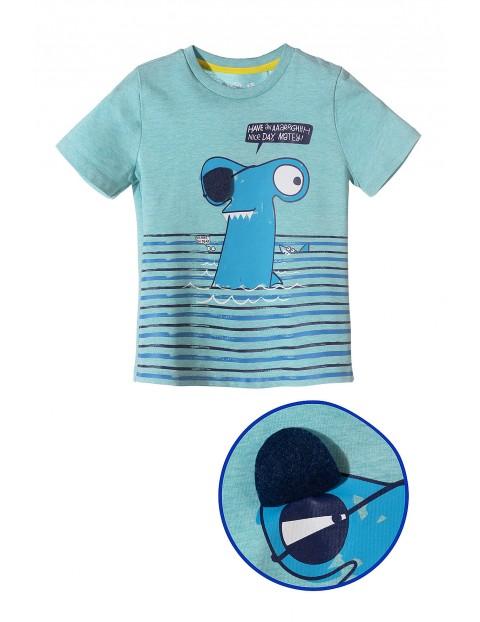 Koszulka chłopięca niebieska z rekinem