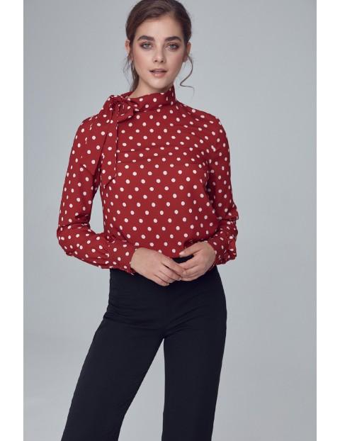Bordowa bluzka damska w grochy z wiązaniem na boku