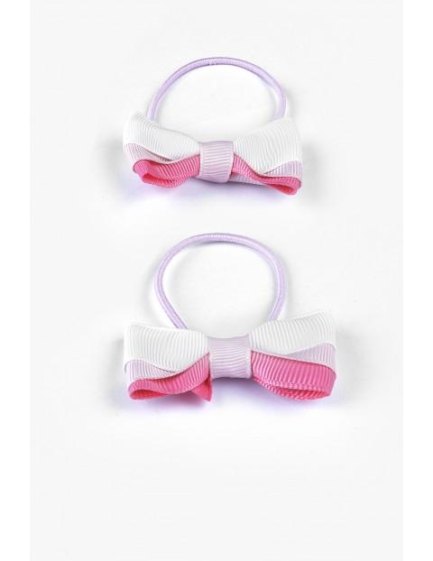 Gumki do włosów- różowe kokardki