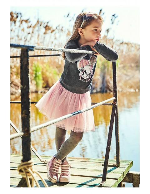 Komplet dziewczęcy - różowa tiulowa spódnica  + szara bluza z nadrukiem