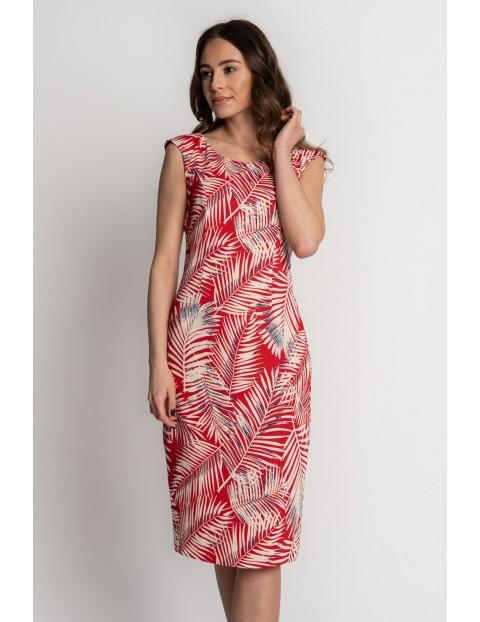 Czerwona sukienka w białe liście - grube ramiączka