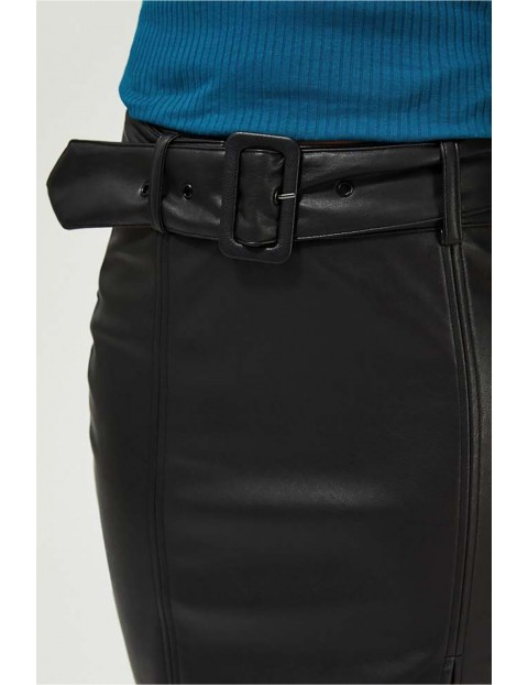 Ołówkowa spódnica damska ze skóry ekologicznej - czarna