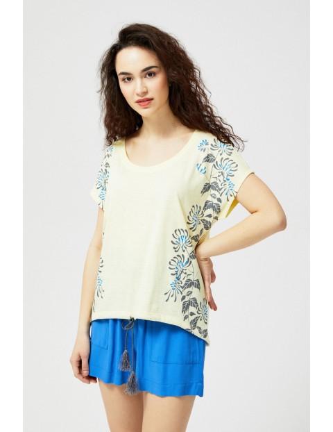 T-shirt damski bawełniany z nadrukiem- żółty