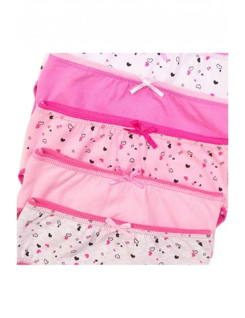 Majtki dziewczęce 5pak różowe w serduszka rozm 86/92