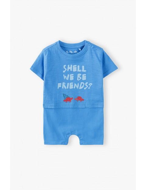 Rampers niemowlęcy w kolorze niebieskim z krabami