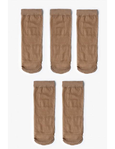 Skarpetki damskie gładkie beżowe cienkie 5-pack 20 DEN