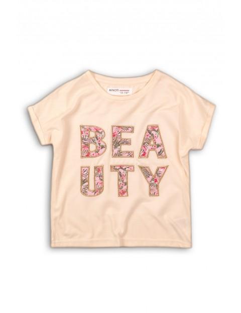 Koszulka dziewczęca kolorowy napis beauty