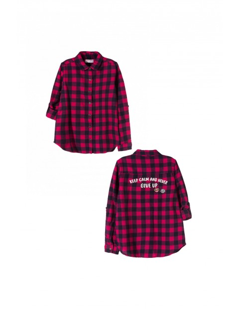 Koszula dziewczęca w kratę 4J3505