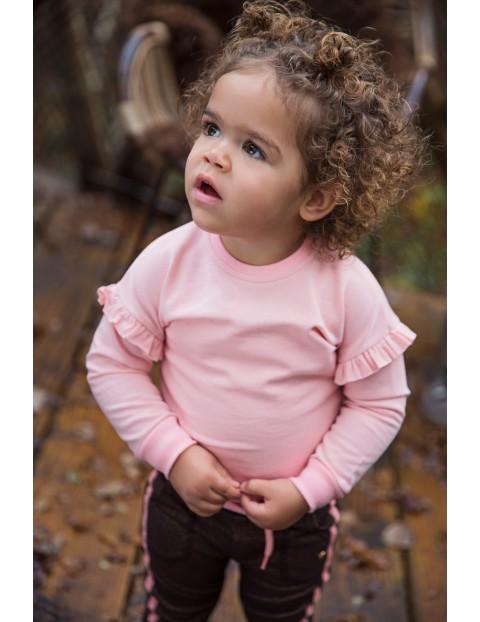 Bluza dziewczęca różowa z falbankami
