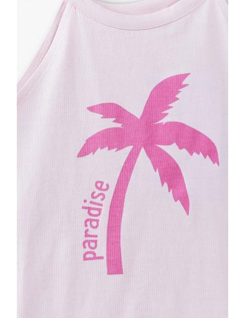 T- shirt dziewczęcy na ramiączka- różowy