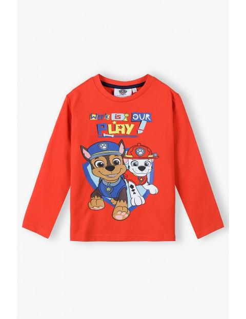 Bluzka chłopięca bawełniana czerwona Psi Patrol