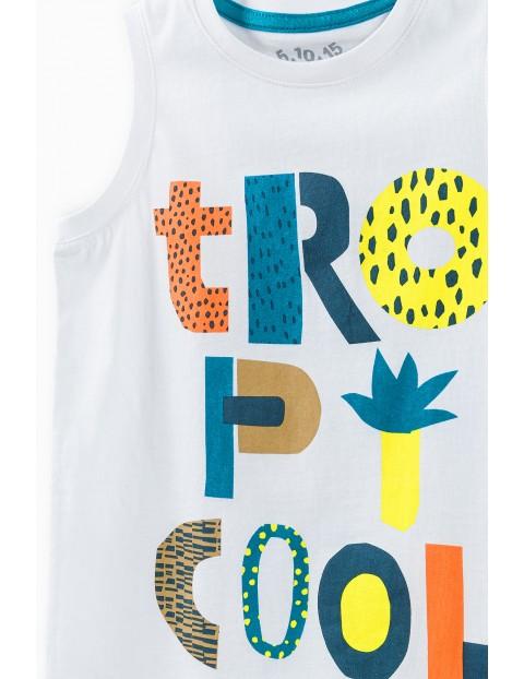 Komplet chłopięcy - t-shirt i spodenki z napisem Tropicool
