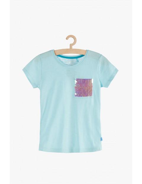 T-shirt dziewczęcy niebieski - kieszonka z odwracanymi cekinami