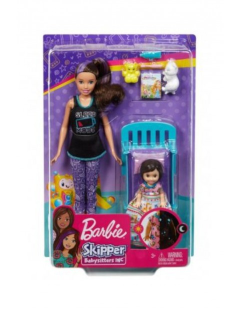 Barbie Skipper - Zestaw Czas na sen z łóżkiem - Lalka opiekunka i dziecko wiek 3+