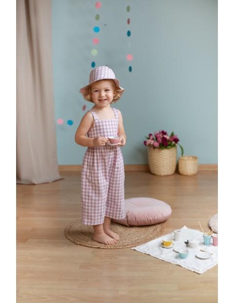 Bawełniany kombinezon dziewczęcy w różowo-białą kratkę