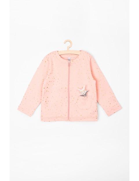 Bluza niemowlęca rozpinana różowa w złote wzorki