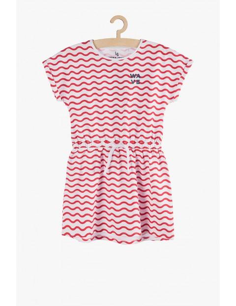 Sukienka dzianinowa na lato-  czerwono-biała