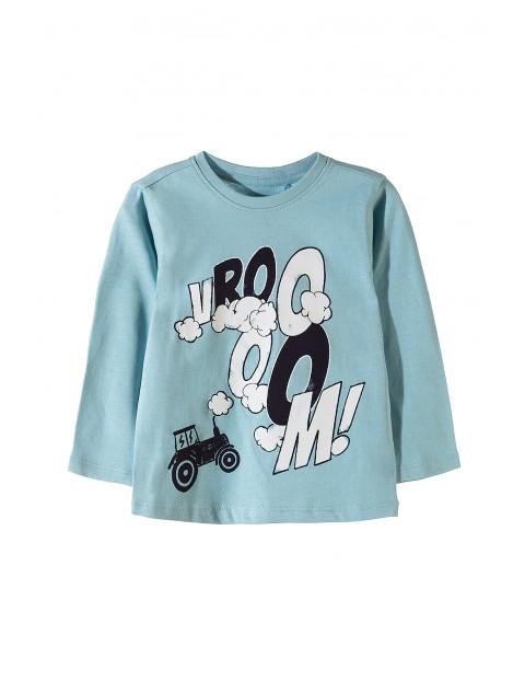 Bluzka chłopięca dzianinowa, niebieska z długim rękawem