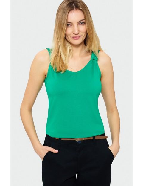 Zielony top damski z dekoltem w szpic