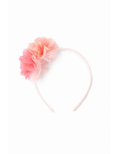 Opaska do włosów dla dziewczynki z kwiatkami - różowa