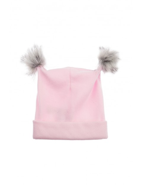 Czapka dziewczęca polarowa- różowa z pomponami