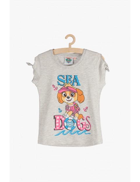 T-shirt dziewczęcy Psi Patrol-szary