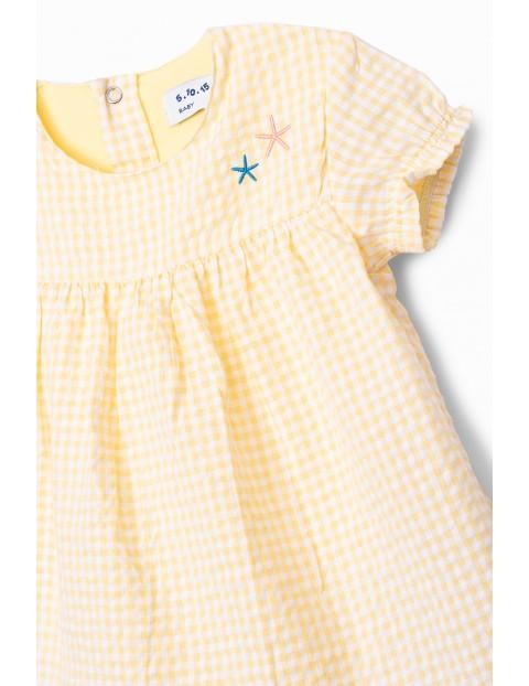 Body dziewczęce z gwiazdkami - żółte w kratke