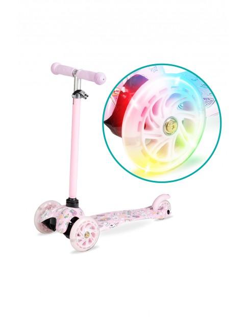QKIDS AMIS hulajnoga trójkołowa z kołami LED - różowa