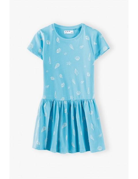 Sukienka na krótki rękaw w muszelki - niebieska