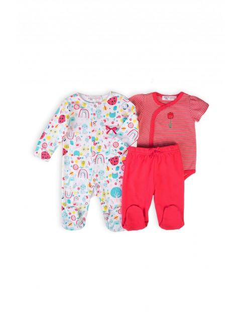 Bawełniany komplet bielizny niemowlęcy- body , śpiochy i półśpiochy