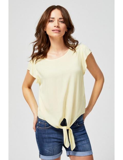 Bluzka damska koszulowa z ozdobnym wiązaniem żółta