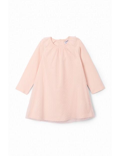 Sukienka niemowlęca w kropeczki - różowa z tiulową falbanką