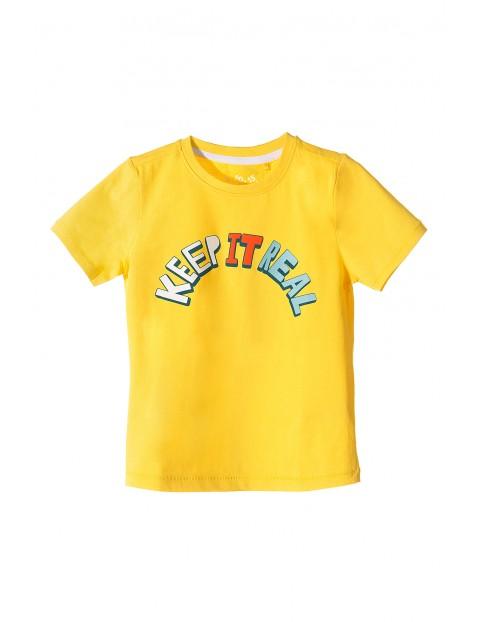 T-shirt dla chłopca- żółty z napisem