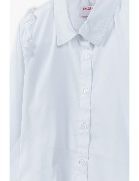 Elegancka biała koszula dziewczęca z długim rękawem